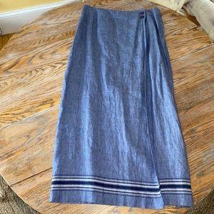 TALBOTS 100% linen wrap style side button skirt